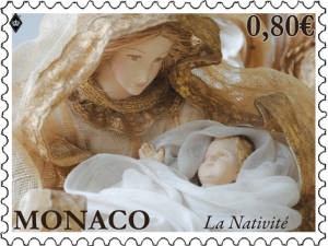 Christmas welcomed by Monaco Post. Special nativity stamp released